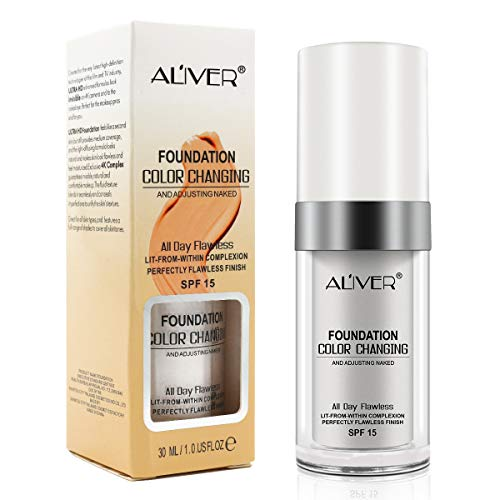 Farbwechsel Foundation Makeup Base Warme Hautfarbe Nude Face Liquid Moisturizing Cover Concealer für Mädchen Frauen 30 ml
