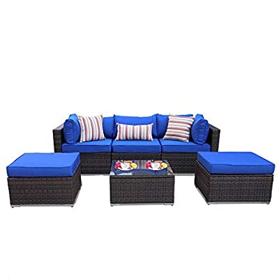 Outdoor Rattan Sofa Set 6-Piece Patio Furniture Garden Seating Brown PE Wicker with Royal Blue Cushion