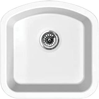 Whitehaus WHE1717D WHE1717DElementhaus single Bowl (D-Bowl) Under Mount Sink with 3 ½