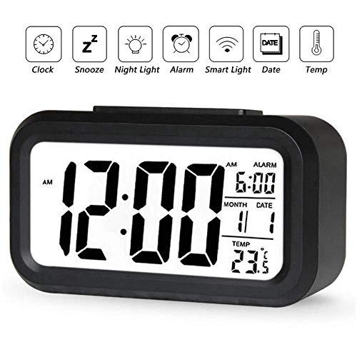 YIQI Despertador Digital inalámbrico con batería con Fecha, Temperatura, luz de Sensor Inteligente, 12 / 24Hr, repetición para dormitorios, Oficina, 5.31 x 2.95 x 1.77 Pulgadas (Negro)