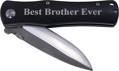 Best Brother Ever Folding Pocket Knife - Great Gift for Birthday, or Christmas Gift for a brother (Black Handle)