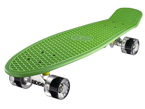 Ridge Skateboard 69 cm 27 inch Nickel Cruiser Retro Stil M Rollen Komplett Fertig Montiert, Unisex, Verde/Chiaro