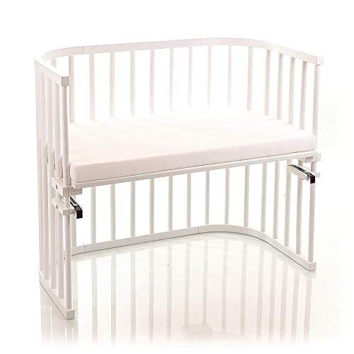 babybay Maxi extra großes Beistellbett aus massivem Buchenholz mit Matratze Classic Soft I Kinderbett Höhe stufenlos verstellbar & umweltfreundlich I mitwachsendes Babybett, weiß lackiert