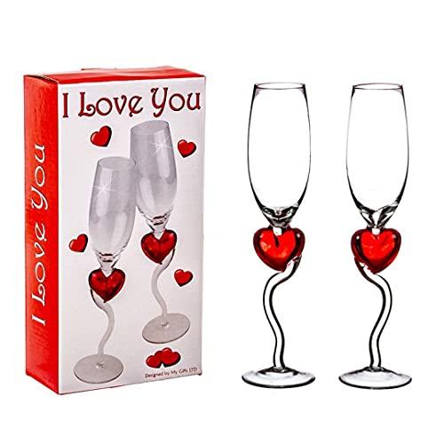 Set di 2 calici da vino spumante con cuori rossi, 175 ml, romantici set di bicchieri per vino spumante