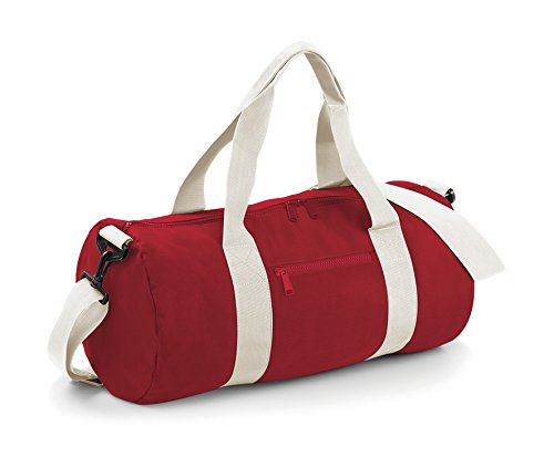 BagBase Sac baril de sport style universitaire Anses sangles 6 couleurs Classic Red/Off White taille unique