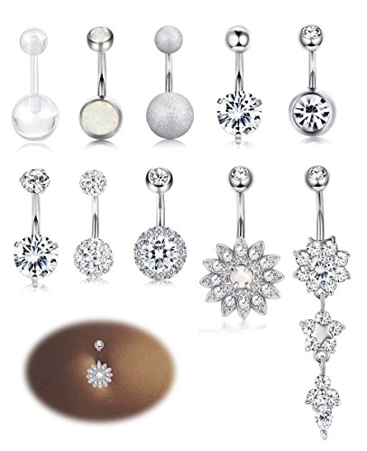 Milacolato 10PCS Stainless Steel Belly Button Rings for Womens Navel Rings Barbell Dangle Acrylic CZ Body Piercing Jewelry