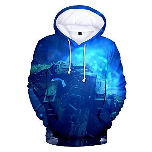 BAIMM Sudadera con Capucha Digital Impresa En 3D Sudadera con Capucha Suéter Azul De Manga Larga para Hombres Y Mujeres-A_2XL