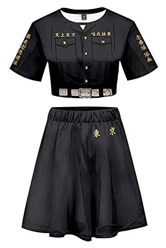 Tokyo Revengers Keisuke Baji First Division Capitán Jersey Exposed Nabel Camiseta Rock Set Suit Cosplay Disfraz Negro Mujer M