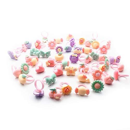 shaoyanger Fingerringe für Mädchen, Cartoon-Motiv, Kunstharz, niedlich, für Kinder, zum Stylen, für den täglichen Gebrauch, Festival, Tanzen, Party, Geschenk, 20 Stück