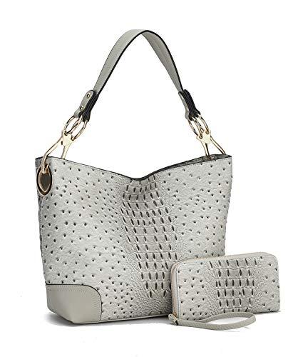 MKF Set Hobo Bag for Women & Wristlet Wallet – PU Leather Designer Handbag Purse – Shoulder Strap Lady Fashion, Light Grey