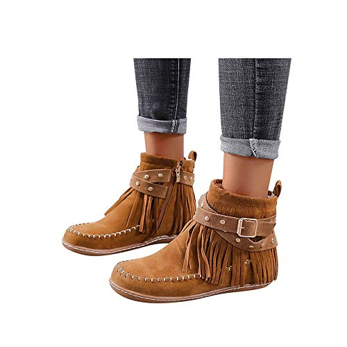 Toimothcn Womens Cowboy Bootie Round Toe Low Heel Faux Suede Western Fringe Mid-Calf Boot Shoes (Brown-1, 8)