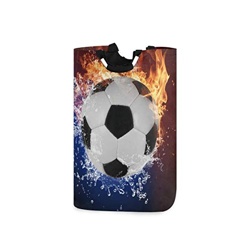 mallcentral-EU Cesto de lavandería Fútbol Agua Fuego Cesto de lavandería Cesto de Tela Grande Organizador de Ropa con asa 50L