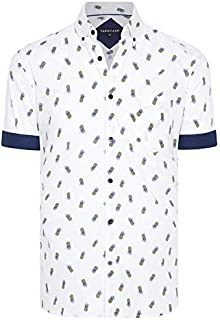 Tarocash Men's Mini Pineapple Print Shirt Long Sleeve Fit Sizes XS-5XL for Going Out Smart Casual