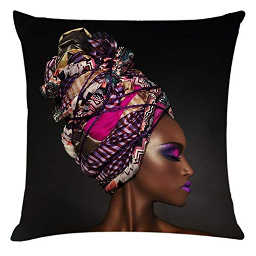 CSQQ Home Decor Cushion Cover Beautiful African Woman Pillowcase Throw Pillow Covers Outdoor Cushion Covers 45 x 45, Geometric Waterproof Cushion Covers for Outside Bench Sofa Furniture