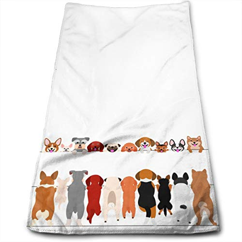 Funny Dogs Standing and Smiling Hand Towels for Bathroom 27.5'' X 12'' Soft Microfiber Towel Cute Puppy Front and Back Small Bath Towels Kitchen Dish Towel