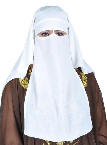 Egypt Bazar Niqab dreilagig - Hijab Gesichtsschleier Burka Khimar Islamische Gebetskleidung (Weiss)