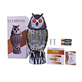BuboBoss Fake Scarecrow Owl Decoy |16 Inch Solar Powered Motion Activated Plastic Owl to Keep Pigeons, Squirrels, Rabbits, and Rats Away from Gardens, Barns, Decks, and Terraces