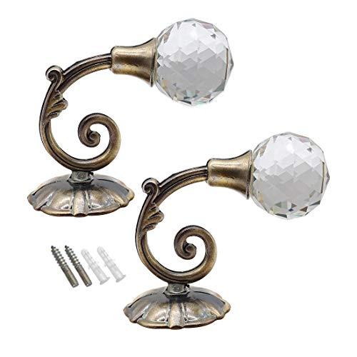 CCUCKY 2 Stück Raffhalter für Gardinen, Kreative Kristall wandhaken, Schnalle Wandbehang, Vorhanghalter (Bronze)