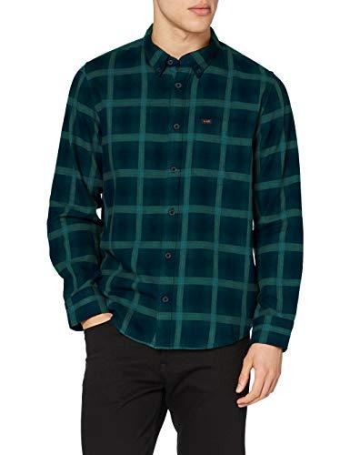 Lee Button Down Camisa, Verde Pino, XXXL para Hombre