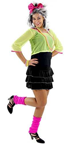 Foxxeo Sexy 80er 90er Jahre Neon Party Kostüm für Damen mit Kleid und Netz Shirt Größe XXL