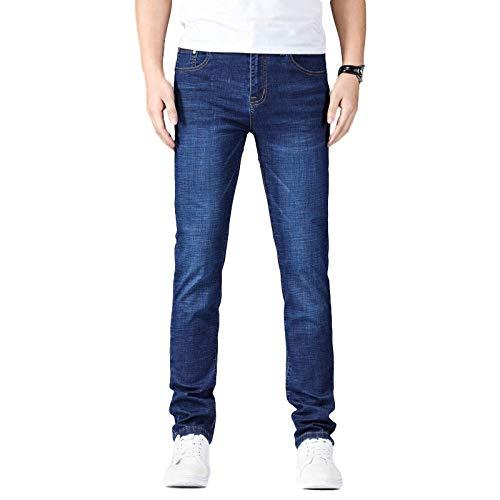 Pantalones Vaqueros de Mezclilla básicos clásicos de Ajuste Regular de Pierna Recta elástica para Hombre Pantalones de Mezclilla de Negocios Casuales de Corte Ajustado en Primavera y Verano 40