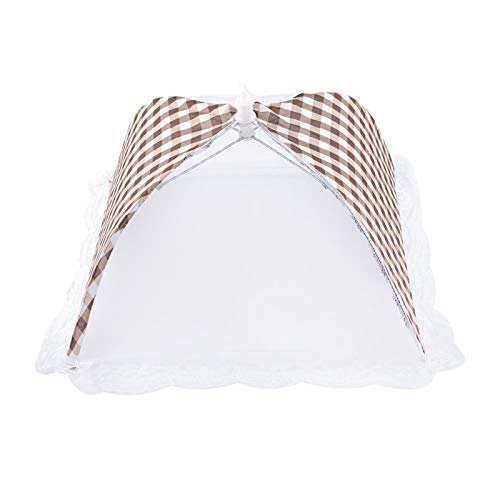 Paraguas de la comida, paraguas plegable de la malla de la comida para acampar para el hogar(Beige)