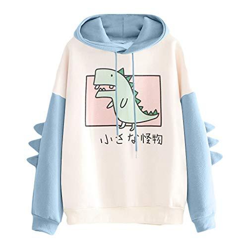 VEMOW Damen Hoodie, Frauen Brief gedruckt Sweatshirt Langarm Nähen Bluse Tops(X-Blau,34 DE/S CN)