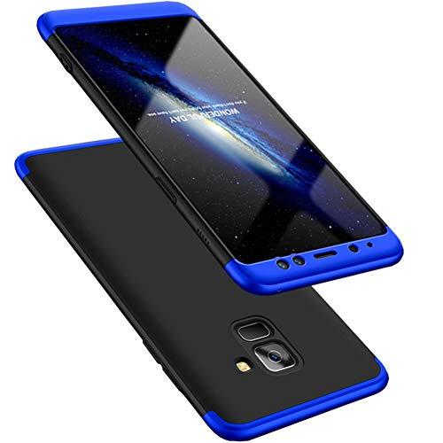 Kit Capa Capinha Anti Impacto 360 Full Para Samsung Galaxy A8 Com Tela 5.6Polegadas - Case Acrílica Fosca Com Película De Vidro Temperado - Danet (Preto e Azul)