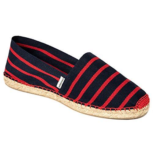 weltenmann Klassische Gestreifte Herren Slip-on Espadrilles aus Baumwolle mit Schuhbeutel, Barça, 43, Handmade in Spain