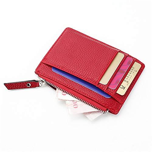 JINQIANSHANGMAO Estuche unisex para tarjetas de crédito de negocios, bonito bolso de tarjetas bancarias con cremallera, organizador de tarjetas de identidad, funda para tarjetas (color: rojo)