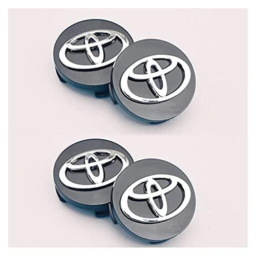 El juego de 4 piezas de la cubierta del centro de la cubierta del centro de la rueda del automóvil es compatible con el logotipo de Toyota, la cubierta central del centro y la cubierta central del cen