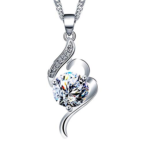ZAOPP Rhinestone Inlay Musical Note Shape Charm Necklaces For Women Round Zirconia Pave Pendant Necklaces Jewelry Accessories (Metal Color : Silver)