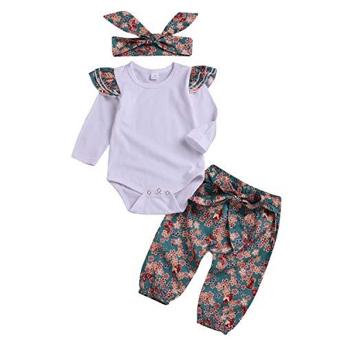 Nouveau Style De La Mode 3pcs Bébé Enfant En Bas Âge Mignon Vêtements Ensemble Floral Outfit Vêtements Ensemble Barboteuse + Bandeau + Pantalon Coton Pour 0-2 Ans Bébé
