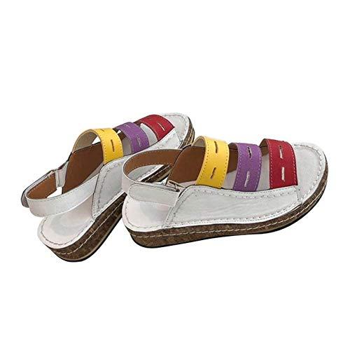 iSunday dames kleurblok vlak open teen vrije tijd wigsandalen glijden schoenen