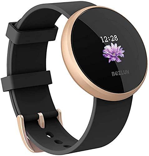 ZBHWYD Reloj inteligente para mujer y hombre, adecuado para Android Ios, reloj inteligente IP68, impermeable, pantalla de alarma automática, teléfono inteligente (negro)