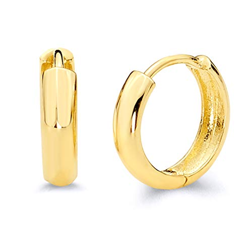 14k REAL Yellow Gold 3mm Thickness Huggie Earrings (12 x 12 mm) 14k Yellow Gold Hinged Hoop Earrings