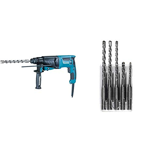 Makita HR2630 26 mm 3 Mode SDS Plus Rotary Hammer Drill & D-03888 SDS Plus Drill Performance Set (5-Piece) - SILVER