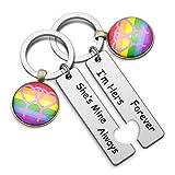 LGBT Keychain Set Gay Pride Rainbow Gift Lesbian Jewelry Im Hers Forever Shes Mine Always Keychain Wedding Gift for LGBT (LGBT KR)