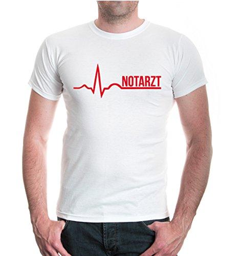 buXsbaum® Herren Unisex Kurzarm T-Shirt bedruckt Notarzt | Klinik Krankenhaus Doktor | M white-red Weiß