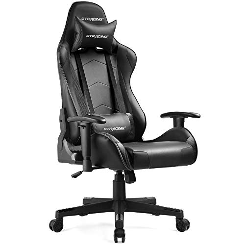 GTRACING Gaming Chair Racing Office Computer Ergonomic Video Game Chair Backrest and Seat Height Adjustable Swivel Recliner with Headrest and Lumbar Pillow E-Sports Chair Black