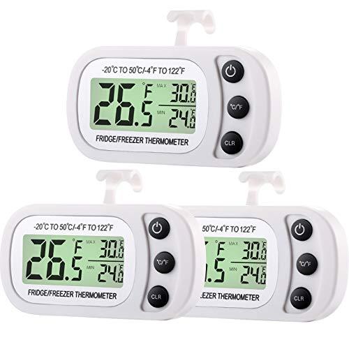 Digital Kühlschrank Gefrierschrank Thermometer Kühlschrank Zimmer Thermometer Wasserdichter Kühler Temperatur Thermometer mit Maximum Mindest Aufzeichnung Funktion Große LCD Anzeige (3)