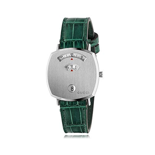 Gucci Grip 38mm Stainless Steel GG Engraved Watch YA157404