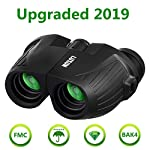 12x25 HD Mini Binoculars for Adults and Kids, SGODDE Compact Folding Binoculars with Low Light Night Vision, Waterproof Binocular for Outdoor Hunting, Bird Watching, Shooting, Sports Games (12x25)