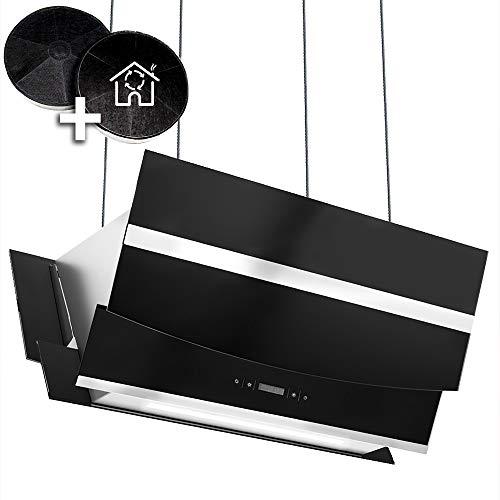 Kopffreie Dunstabzugshaube, Inselhaube (90cm, Edelstahl, schwarzes Glas, Extra-leise, Smart App, 4 Stufen, RGB LED-Beleuchtung, Display, TouchSelect Sensortasten) HERMES-INSEL-907SM - KKT KOLBE