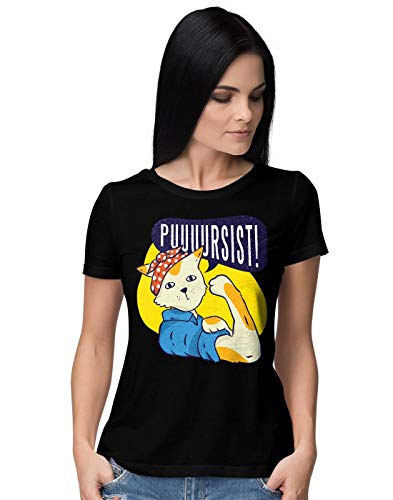BLAK TEE Mujer Funny Cat Power Pin Up Style Camiseta L
