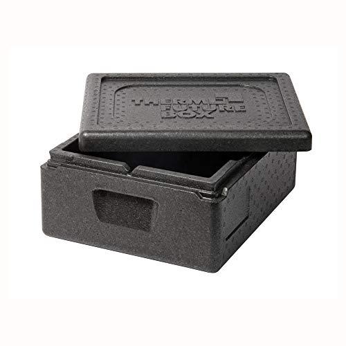 Thermo Future Box GN 1/2 Kühlbox Transportbox Warmhaltebox und Isolierbox mit Deckel, Thermobox aus EPP (expandiertes Polypropylen), schwarz, 10 Liter