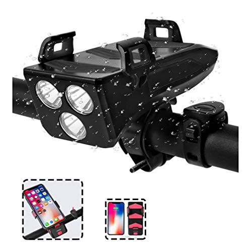 HWUKONG Fahrrad-Licht, 4 in 1 Fahrrad-Telefon-Halter Scheinwerfer Nachladbare wasserdichte Fahrrad Fahrradbeleuchtung, Fahrrad-Licht Mit Lauter Ton Sirene, 3 Beleuchtung Modi 5 Sounds,Schwarz