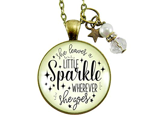 """Gutsy Goodness 24"""" She Leaves Little Sparkle Necklace Life Quote Jewelry Gift Star"""