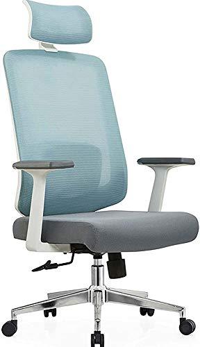 BESTSOON Tela de Oficina Escritorio y Silla con amrazos de cojín y Soporte de Cintura Computadoras y sillas de Juego cómodas,Blue