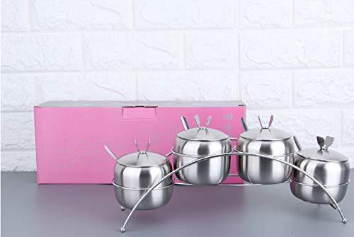 hnxsy Stainless Steel Seasoning Tank European-Shaped Four-Flavor Seasoning Cylinder Salt Sugar Chicken Essence Seasoning Shelf Kitchen Supplies 8.5Cm